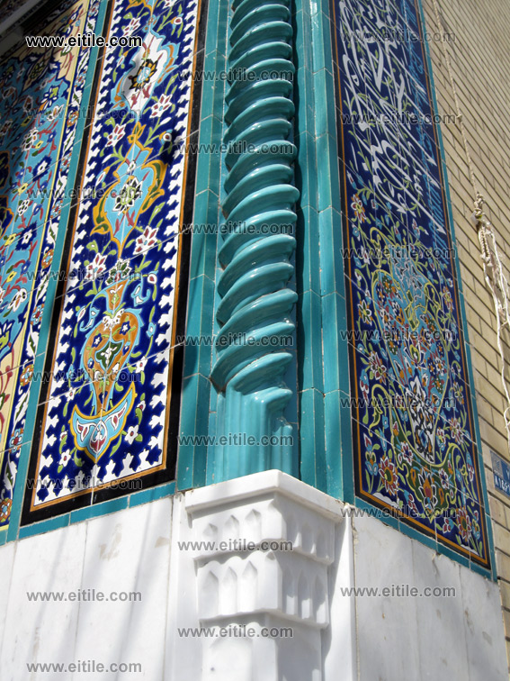 Pich and Haftrang, seven color ceramic tile, mosque entrance door