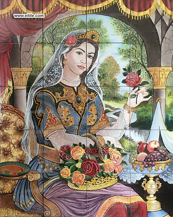 Persian ceramic tiles with women painting, www.eitile.com